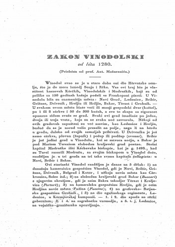 Zakon vinodolski od leta 1280. / (priobćen od prof. Ant. Mažuranića)