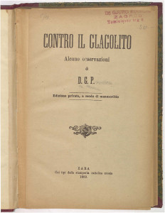Contro il glagolito : alcune osservazioni / di D. G. P.